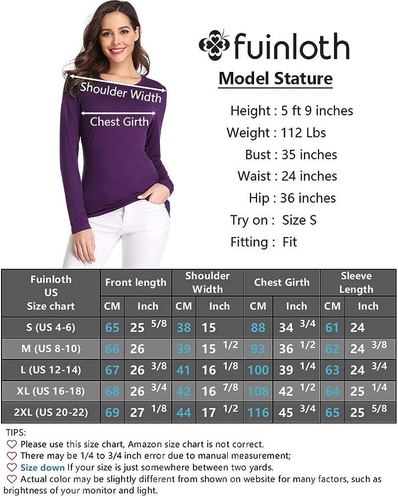 fuinloth Women/'s Basic Long Sleeve T Shirts Crewneck Slim Fit Spandex Tops Plain Layer Underscrub Tees