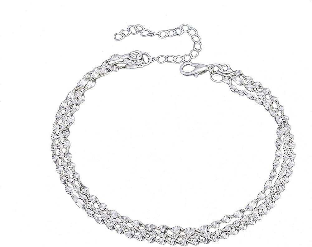Silver eroute66 Fashion Snake Chain Anklet Women Multilayer Barefoot Sandal Beach Ankle Bracelet