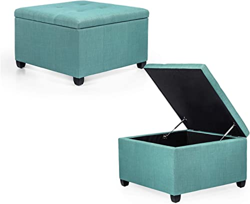 Adeco Chest and Footrest Classic Square Seat Storage Ottomans