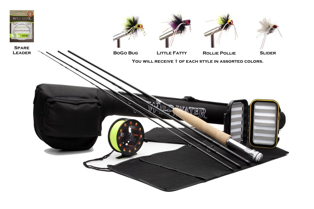 Wild Water 5/6 9' Rod Fly Fishing Complete Starter Package with Pultz Poppers by Wild Water