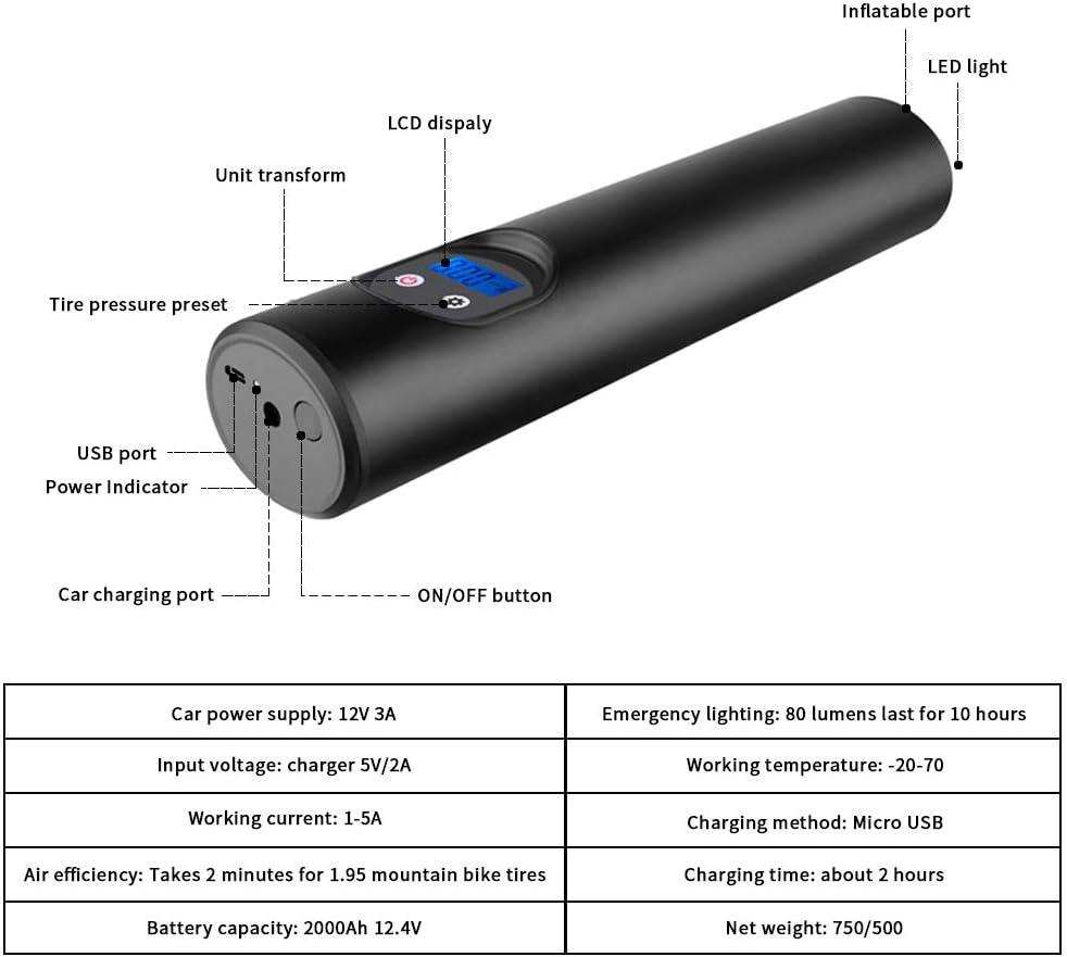 B/älle Tragbarer Auto Luftkompressor USB Wiederaufladbar mit Digitaler LCD-Anzeige Schwimmringe Motorrad Fahrrad LiveRowing Elektrische Luftpumpe 6000mAh Akku Luftpumpe LED-Licht f/ür Autoreifen