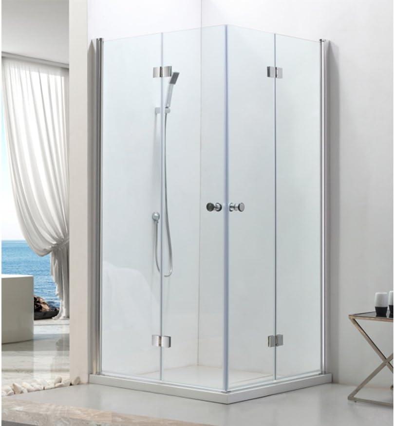 Cabina de ducha de esquina con puerta de bisagra, con vidrio ...