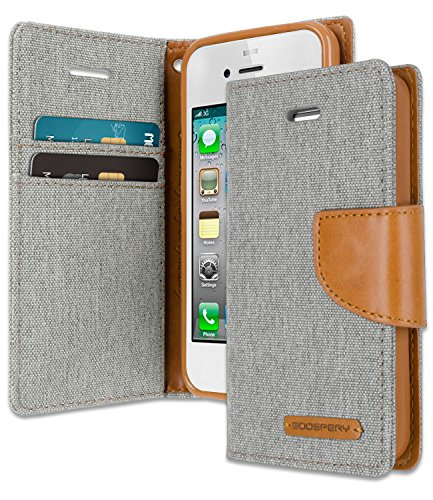 iPhone 4S / 4 Wallet Case with Free 6 Gifts [Shockproof] GOOSPERY Canvas Diary Ver.Magnetic [Denim Material] Card Holder with Kickstand Flip Cover for Apple iPhone4S - Gray, - Cover 4s Flip