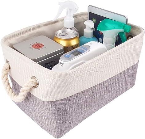 Mangata Caja de Almacenamiento Ropa, cestas de almacenaje Tela, Plegable Cajas organizadoras para Juguetes, armarios (Pequeña, Gris Blanco): Amazon.es: Hogar