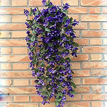 1 Bunch of Artificial Violet Hanging Garland Vine Flower Trailing Bracket Plant By MEXUD (Blue)