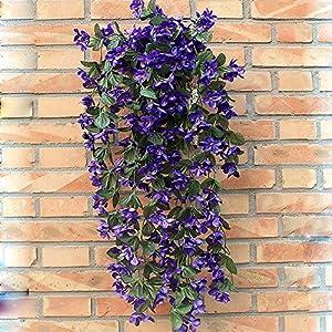 1 Bunch of Artificial Violet Hanging Garland Vine Flower Trailing Bracket Plant By MEXUD (Blue) 1