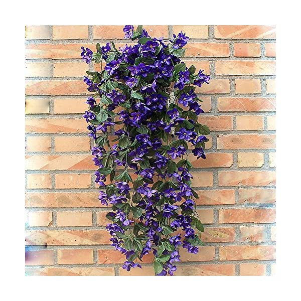 1-Bunch-of-Artificial-Violet-Hanging-Garland-Vine-Flower-Trailing-Bracket-Plant-By-MEXUD-Blue