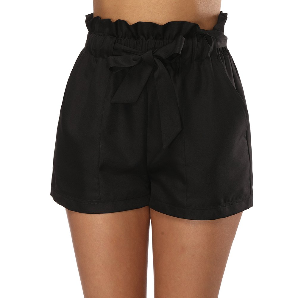 Fancyqube Women's Casual Bowknot Elastic Waist Summer Jersey Walking Shorts with Pockets Black XL