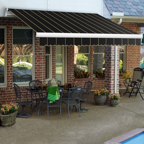 Awntech 12-Feet Maui-LX Left Motor with Remote Retractable Acrylic Awning, 120-Inch Projection, Black Pin ()