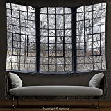 House Decor Tapestry Industrial Decor Collection Old Large Window With Broken Panes In A Deserted Hall Near Forest Trees Winter Time Wall Hanging for Bedroom Living Room Dorm