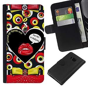 Planetar® Modelo colorido cuero carpeta tirón caso cubierta piel Holster Funda protección Para HTC One M9 ( Labios texto beso sensual Modelo abstracto)