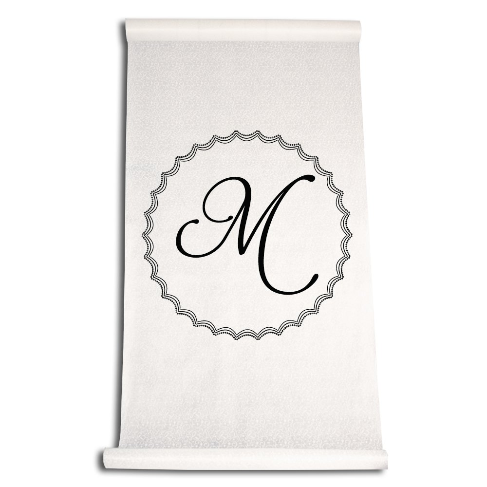 Ivy Lane Design Wedding Accessories Aisle Runner with Initial, Letter M, Black AM00032M/BLK