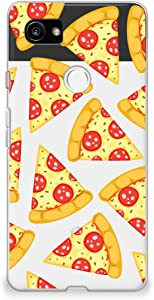 CasesByLorraine Compatible with Google Pixel 2 XL Case, Cute Pizza Slice Lovely Food Pattern Clear Transparent Flexible TPU Soft Gel Protective Cover for Google Pixel 2 XL 6.0