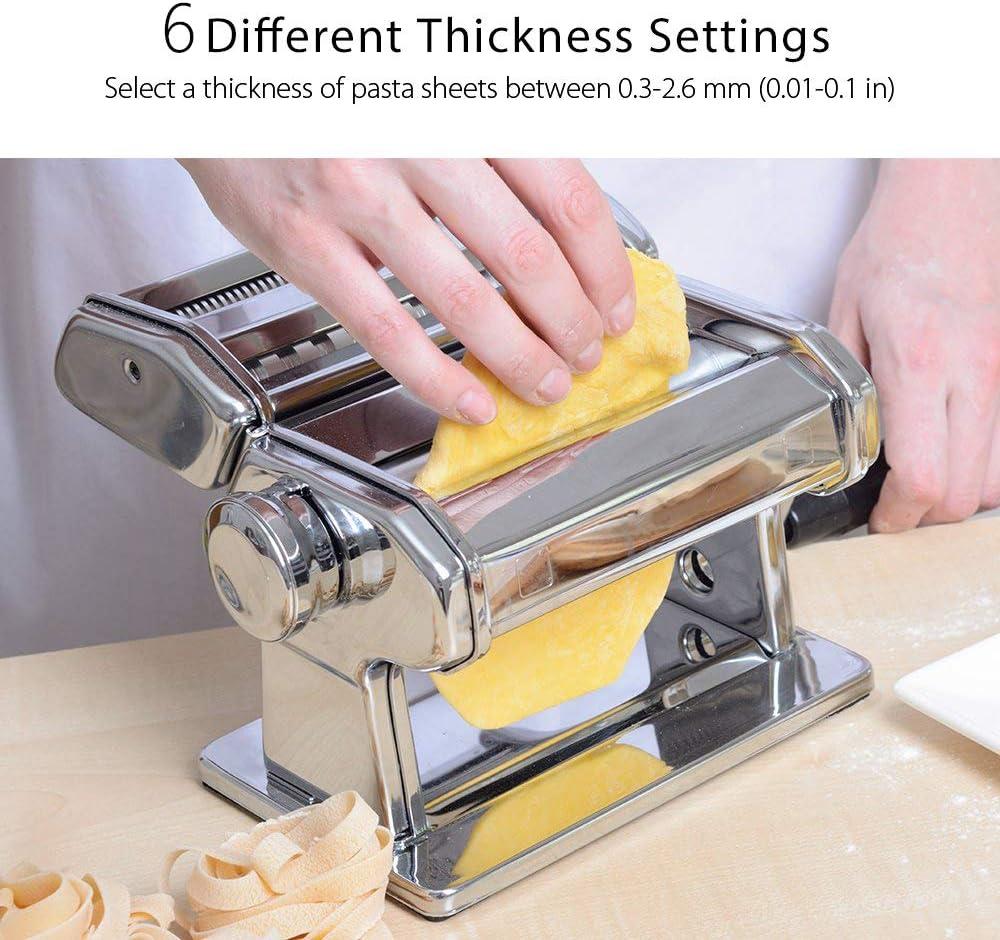 m/áquina para hacer pasta de acero inoxidable con pinza para hacer pasta de espaguetis lasa/ña mejor m/áquina de pasta M/áquina para hacer pasta manual