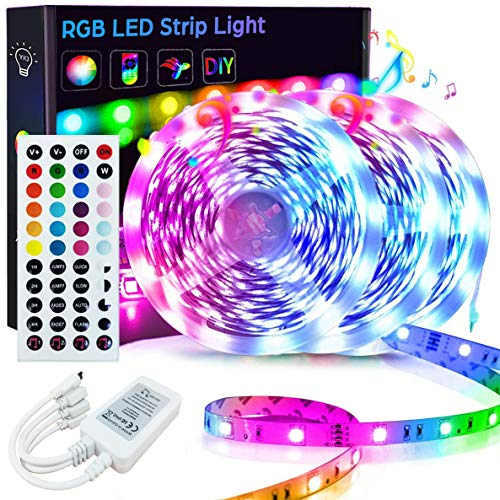 50FT/15M LED Strip Lights, Goadrom RGB LED Light Strip Music Sync RGB LED Strip, 5050 Color Changing LED Strip Light 44-Key Remote, Sensitive Built-in Mic, LED Lights for Bedroom Home Party(3x16.4FT)