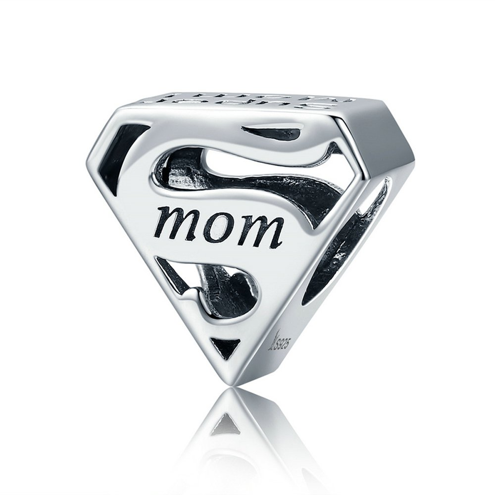 The Kiss Loving Mother I Love Mom Mother Center of My Heart Family 925 Sterling Silver Bead Fits European Charm Bracelet (Super Mom Engrave)