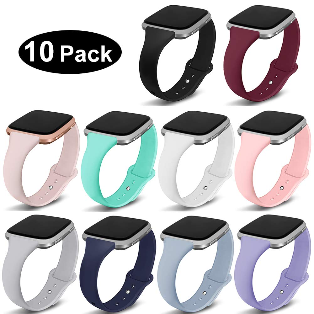Kmasic Compatible Fitbit Versa Bands, Slim Soft Silicone Small Replacement Wristband for Fitbit Versa/Versa Lite Edition Women Men, 10 Pack, Large by Kmasic