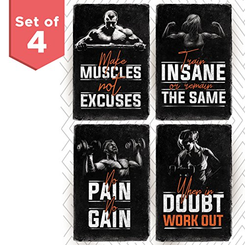 Bodybuilding Motivational Fitness Posters Set of Four. Wall Art Inspiration and Quote Decals with
