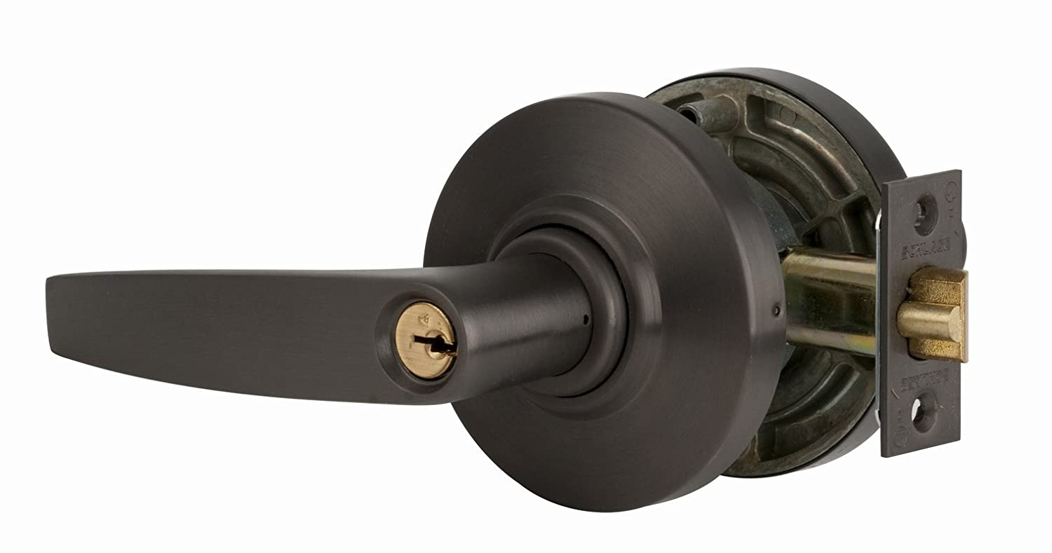 Schlage commercial AL53PDJUP613 AL Series Grade 2 Cylindrical Lock Oil Rubbed Bronze Finish Jupiter Lever Design Entry Function Turn//Push Button Locking