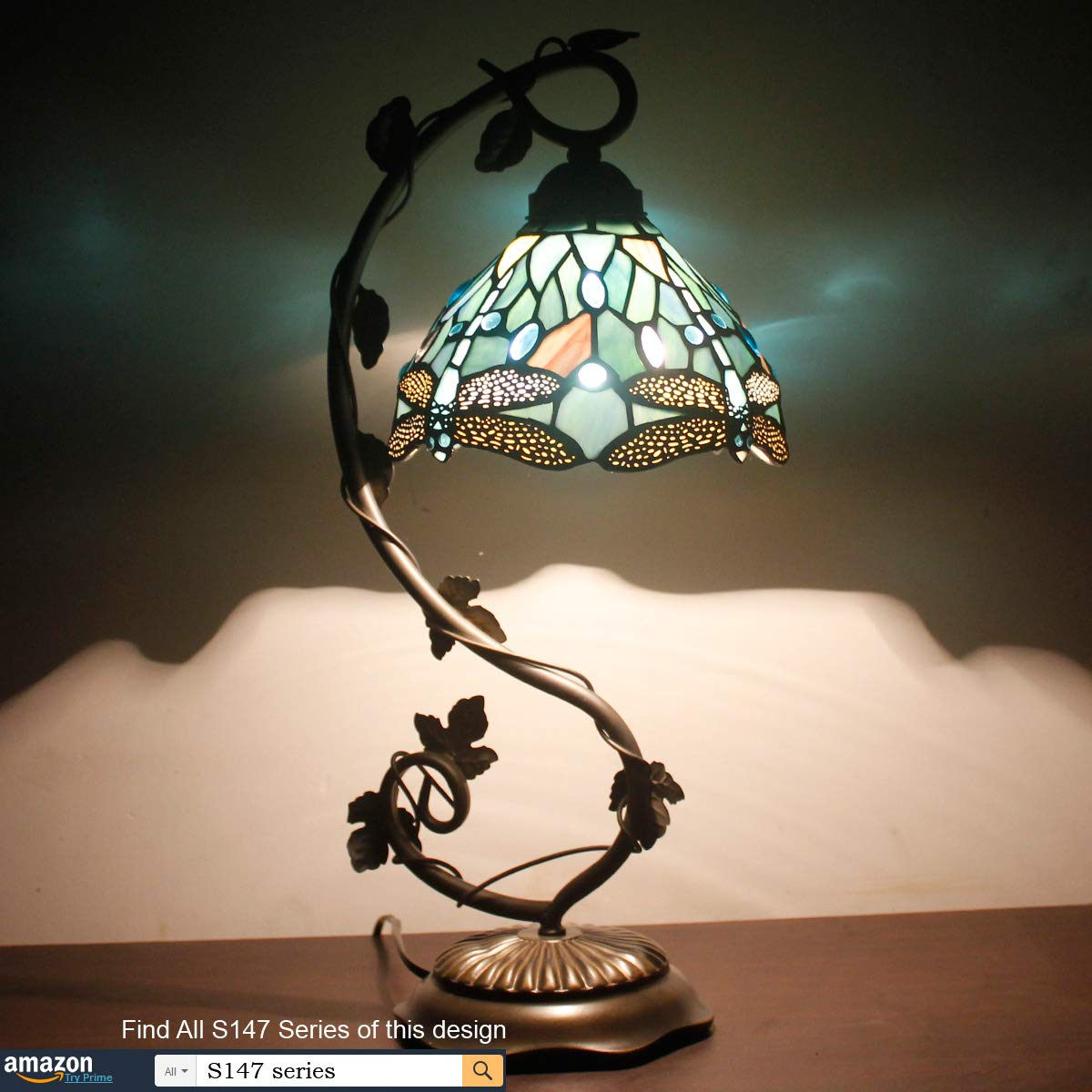 Tiffany Lamps Stained Glass Table Desk Reading Lamp Crystal Bead Sea Blue Dragonfly Style Shade W8H22 Inch for Living Room Bedroom Bookcase Dresser Coffee Table S147 WERFACTORY by WERFACTORY (Image #3)