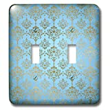 3dRose Uta Naumann Faux Glitter Pattern - Image of Sky Blue and Gold Metal Foil Vintage Luxury Damask Pattern - Light Switch Covers - double toggle switch (lsp_290167_2)