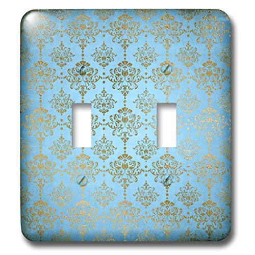 3dRose Uta Naumann Faux Glitter Pattern - Image of Sky Blue and Gold Metal Foil Vintage Luxury Damask Pattern - Light Switch Covers - double toggle switch (lsp_290167_2) by 3dRose