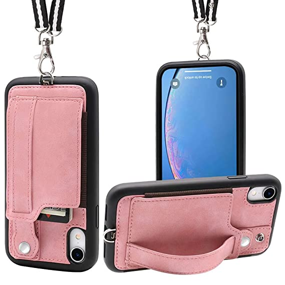 huge discount a2896 bce30 iPhone XR Necklace Case Lanyard Strap TOOVREN Xr iPhone Case Wallet  Protective Cover with Stand Leather PU Card Holder Adjustable Detachable  iPhone ...
