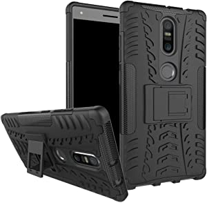 Phab 2 Plus Case, Lantier Hybrid Armor Shockproof Impact Protection Tough Hard Rugged Heavy Duty Combo Dual Layer Protective Case Cover with Kickstand for 6.4inch Lenovo Phab 2 Plus Black