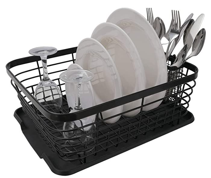 ESYLIFE Kitchen Dish Drainer Drying Rack with Drip Tray and Full-Mesh Silverware Storage Basket, Black