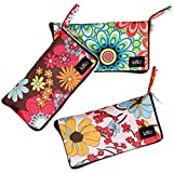 BMC 3pc Mixed Design Foldable Wallet Style Reusable Nylon Shopping Tote Bags - Set 1: Floral Fun