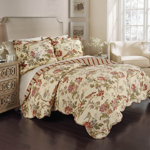 (Waverly 100% Cotton 3 Piece Reversible Quilt Set (1 Quilt + 2 Shams) (Full / Queen, Charleston Chirp - Papaya))