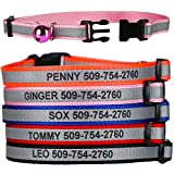Personalized Reflective Cat Collars - Pink