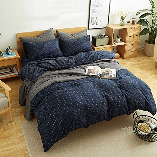 MKXI Simple Bedroom Collection 3 Pieces Navy Queen Size Duvet Cover Set,Cross Printed - Navy Blue Duvet Cover Set