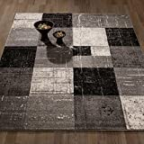 City Collection Contemporary Sculpted Effect Faded Geometric Checkered  Grey Black Area Rug – 5×7 (5'3″ x 7'3″) For Sale