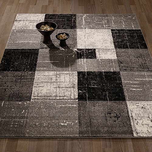 City Collection Contemporary Sculpted Effect Faded Geometric Checkered  Grey Black Area Rug - 5x7 (5'3