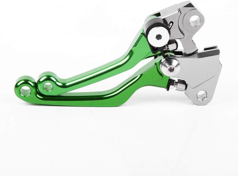 For Kawasa KX450F 2006-2012 Clutch Brake Levers CNC Pivot Green US Pair 09 10 11