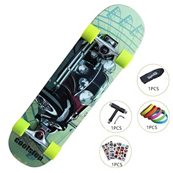 GOWOLD Monopatín de Cuatro Ruedas para Principiantes Juvenil Road Brush Street Skateboard Adulto para Viaje niños