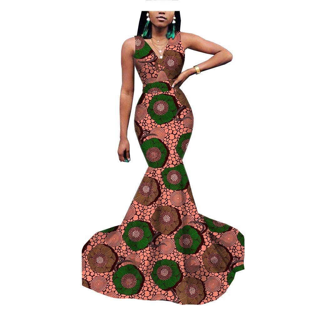 c1abb63c3c70 African Dresses for Women Mermaid Gown Wedding Cocktail Party Formal Wax  Print at Amazon Women's Clothing store: