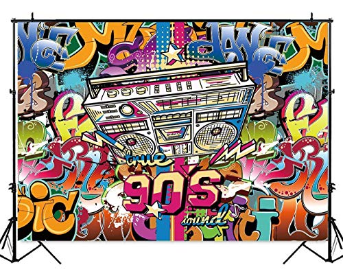 Allenjoy 7#039x5#039 Hip Pop 90#039s Backdrop Graffiti Music Style Design of 90s Fashion Party Bnner Alphabet Wall Background for Photography or Block Party Decoration