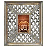 Indian Heritage Wooden Photo Frame 4x6 Mango Wood Carving Design with Grey Distress Finish