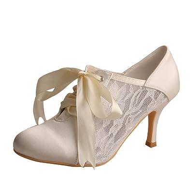 Wedopus MW869 Women s Closed Toe Bootie High Heel Pumps Lace Wedding Dress  (4 222e3ec5f0bf