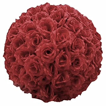 Amazon ben collection burgundy artificial flower ball silk rose ben collection burgundy artificial flower ball silk rose pomander wedding party home decoration kissing ball mightylinksfo