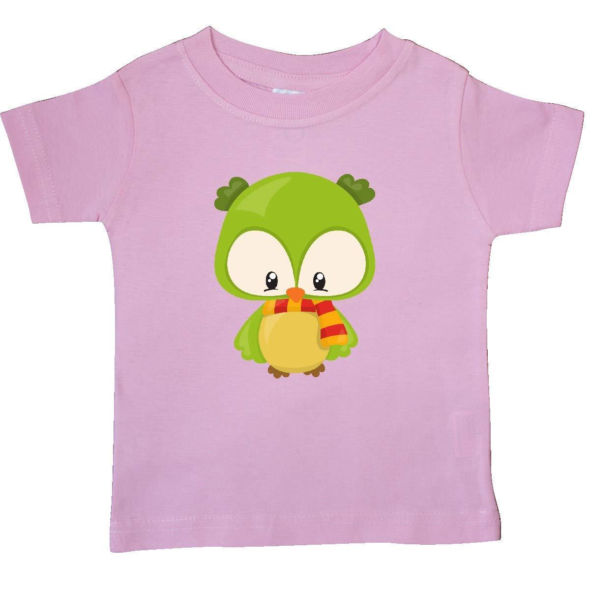 inktastic Cute Owl Wearing a Striped Scarf Green Owl Baby T-Shirt