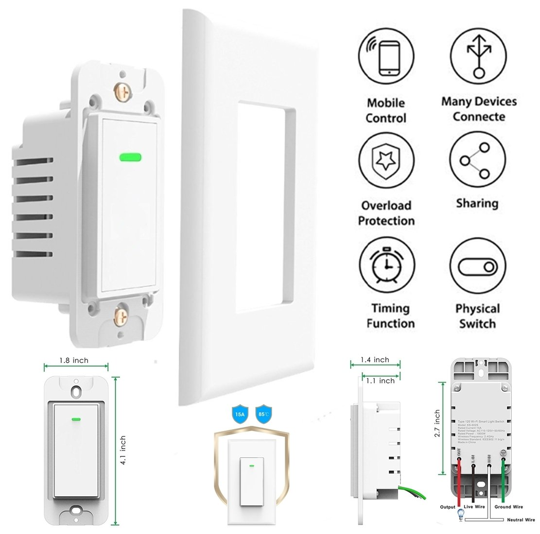 Smart Wifi Light Switch Wireless Phone Remote Control Wall On Off Circuit For Turn Any Home Appliances