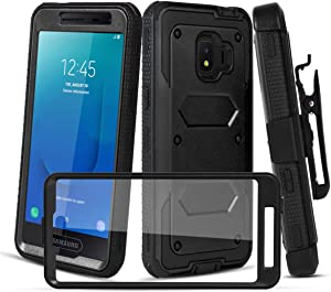 CaseTank for Samsung Galaxy J2 Case,Galaxy J2 Core Case/Galaxy J2 Dash Case/Galaxy j2 Pure,Galaxy J260,Galaxy J2 Shine Case W Built-in Screen Protector Armor Swivel Combo Holster Kickstand, Black