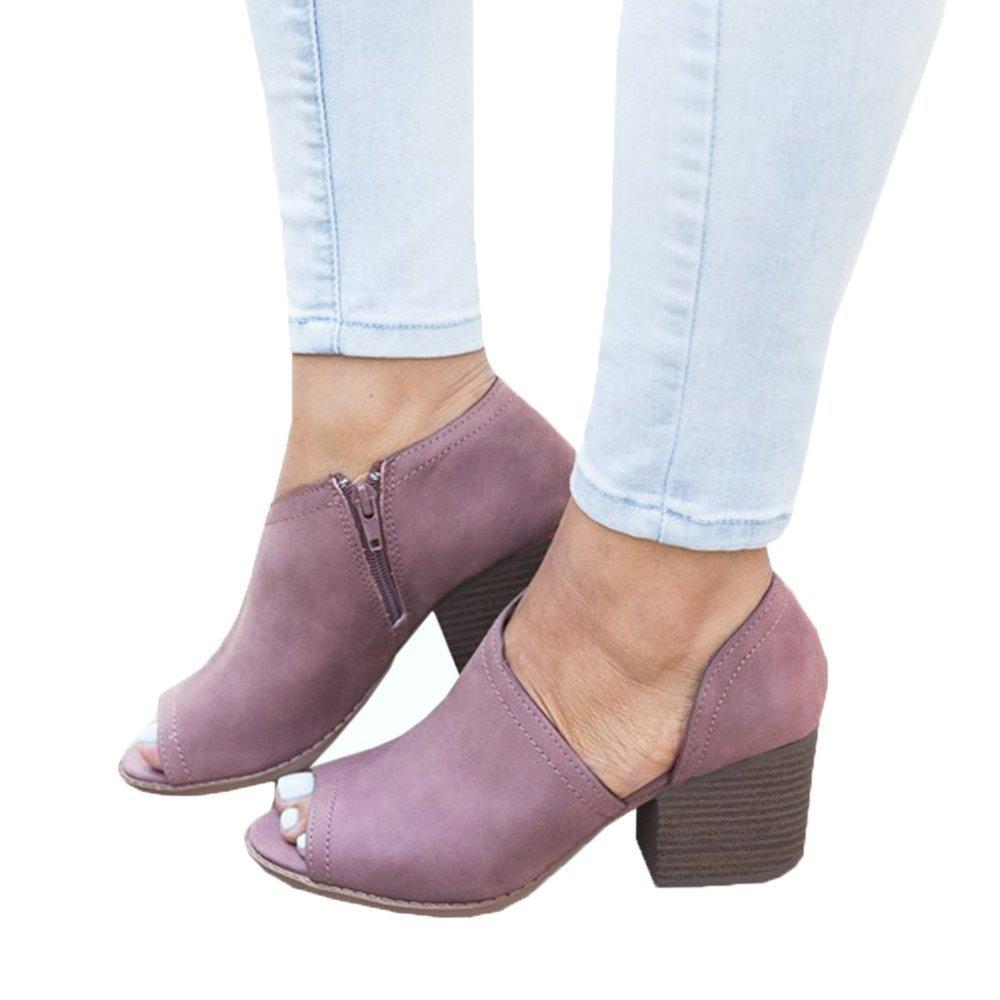Maybest Women Slip On Fashion Faux Suede Side Cuts Peep Toe Chunky Block Low Heel Ankle Booties Purple 9.5 B (M) US