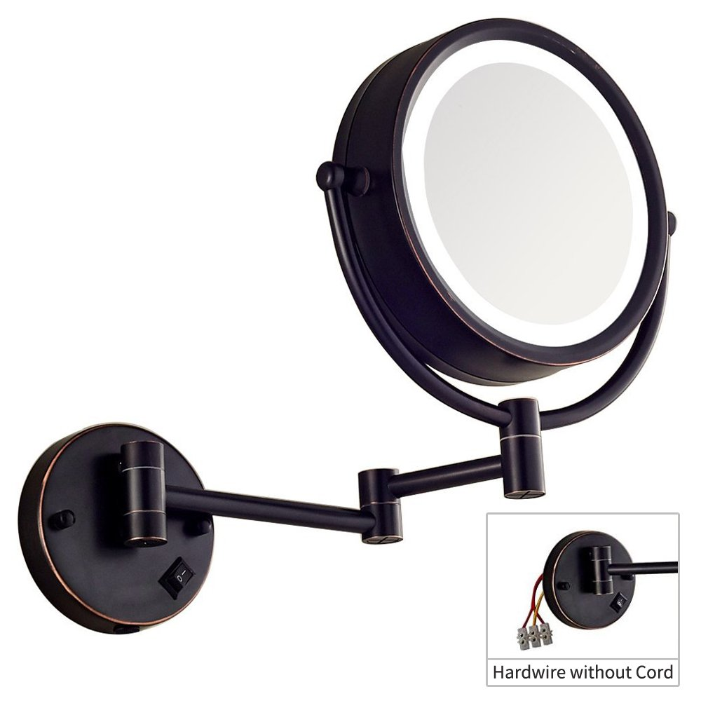 DOWRY Makeup Mirror Wall Mount Lighted with 7X Magnification, Direct Wire,8 Inch, Cordless, Oil Rubbed Bronze 09DO-7X