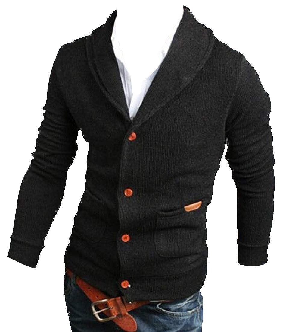 Pandapang Men Slim Fit Rib-Knit Shawl Collar Button Front Outerwear Cardigan Sweater