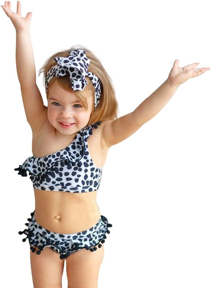 Yoveme Baby Girls Swimsuit Backless Ruffle One-Piece Swimwear Bathing Suit Tankini