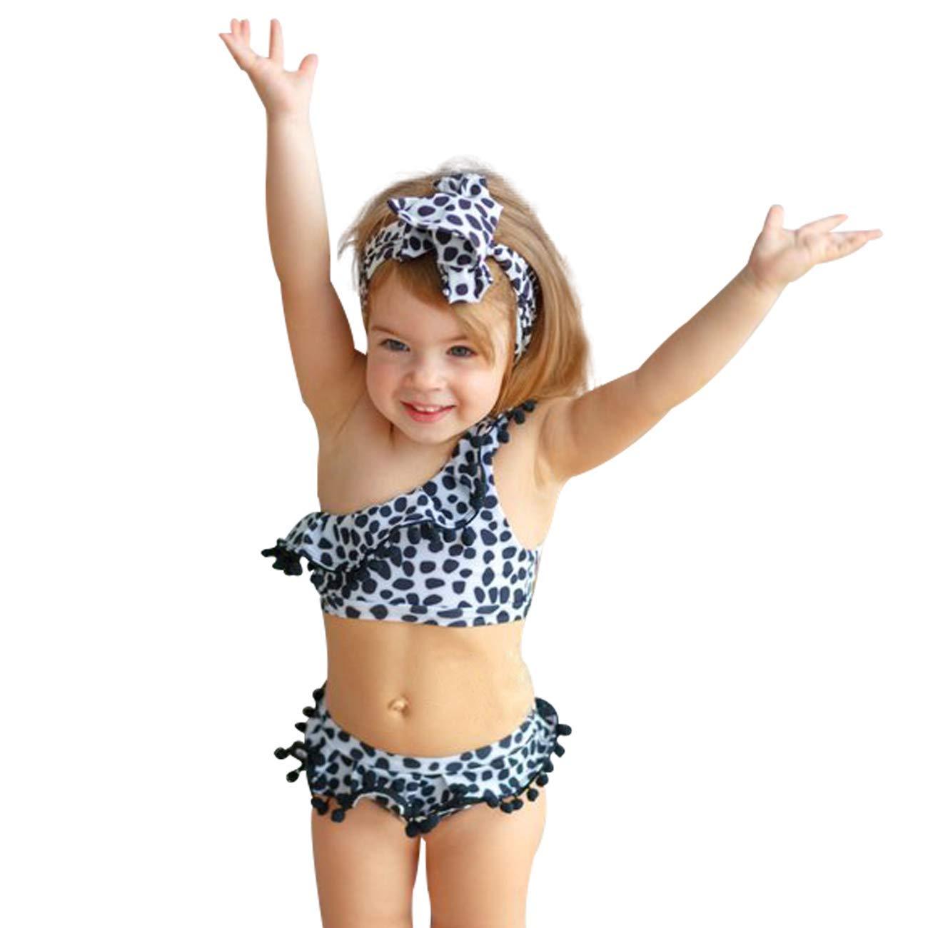b02f19b500 Amazon.com: Yoveme Toddler Baby Girls Bikini Swimsuit Cute Polka Dot Bikini  Set Swimwear Beachwear with Headband Black 2-6T: Clothing
